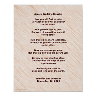 "Apache Wedding Blessing Poster 11"" x 14"" Matte"