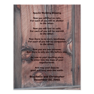 """Apache Wedding Blessing Poster 11"""" x 14"""" Red Barn"""