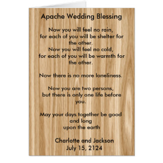 Apache Wedding Blessing Wood Grain Card