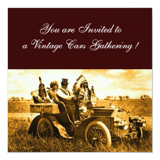 APACHES AND GERONIMO DRIVING A MOTOR CAR 13 CM X 13 CM SQUARE INVITATION CARD