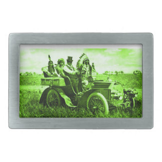 APACHES AND GERONIMO DRIVING A MOTOR CAR RECTANGULAR BELT BUCKLE