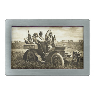 APACHES AND GERONIMO DRIVING A MOTOR CAR BELT BUCKLES