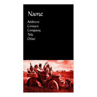 APACHES AND GERONIMO DRIVING A MOTOR CAR BUSINESS CARD TEMPLATE