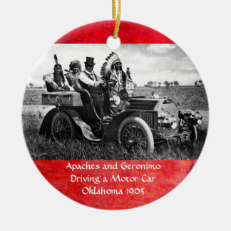 APACHES AND GERONIMO DRIVING A MOTOR CAR CHRISTMAS ORNAMENT