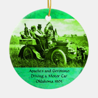 APACHES AND GERONIMO DRIVING A MOTOR CAR ORNAMENTS