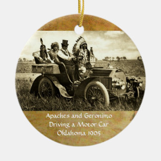 APACHES AND GERONIMO DRIVING A MOTOR CAR CHRISTMAS TREE ORNAMENT