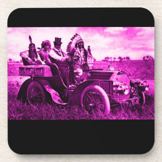 APACHES AND GERONIMO DRIVING A MOTOR CAR DRINK COASTER
