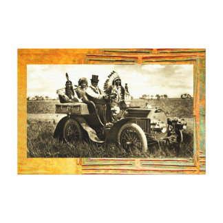 APACHES AND GERONIMO DRIVING A MOTOR CAR GALLERY WRAP CANVAS