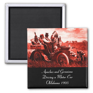 APACHES AND GERONIMO DRIVING A MOTOR CAR FRIDGE MAGNET