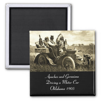 APACHES AND GERONIMO DRIVING A MOTOR CAR MAGNET