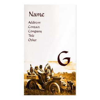 APACHES AND GERONIMO DRIVING A MOTOR CAR Monogram Business Cards