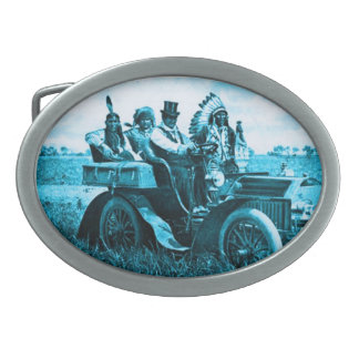 APACHES AND GERONIMO DRIVING A MOTOR CAR OVAL BELT BUCKLES