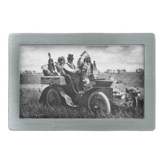 APACHES AND GERONIMO DRIVING A MOTOR CAR RECTANGULAR BELT BUCKLES