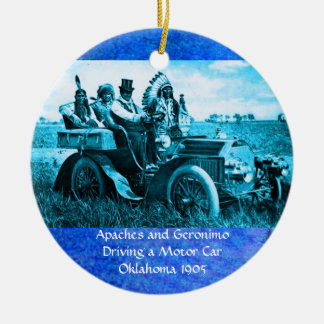 APACHES AND GERONIMO DRIVING A MOTOR CAR ROUND CERAMIC DECORATION