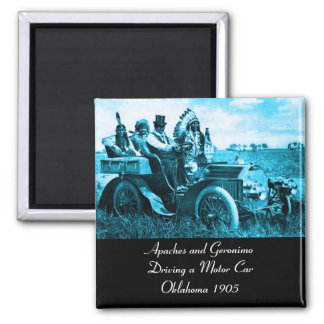 APACHES AND GERONIMO DRIVING A MOTOR CAR SQUARE MAGNET