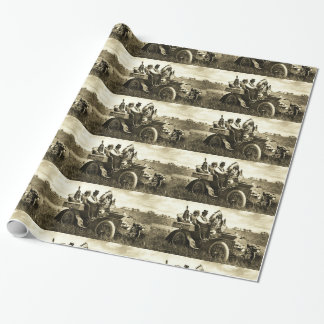 APACHES AND GERONIMO DRIVING A MOTOR CAR WRAPPING PAPER