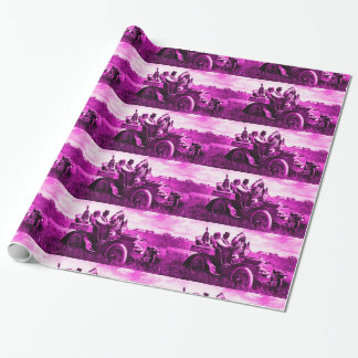 APACHES AND GERONIMO DRIVING A MOTOR CAR GIFT WRAPPING PAPER