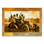 APACHES & GERONIMO DRIVING MOTOR CAR Father's Day Greeting Card