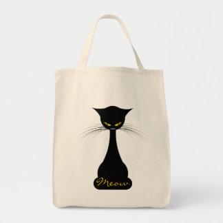 APAL: Black Cat Meow Grocery Tote Bag