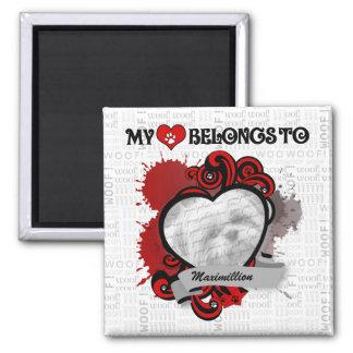 APAL: My Heart Belongs to Custom Dog Photo & Name Magnet