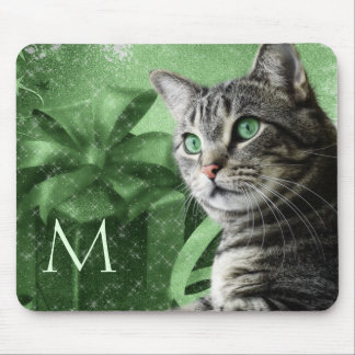 APAL - Silver Tabby Cat in Green with Monogram Mouse Mat