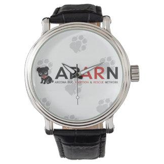 APARN Logo Paw Vintage Black Leather Strap Watch