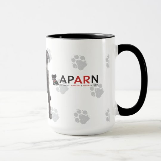APARN No Pug Left Behind Black 15 oz Ringer Mug
