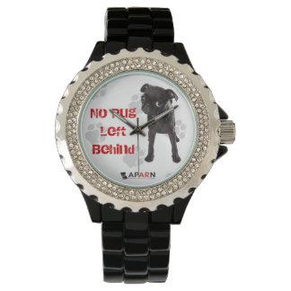 "APARN ""No Pug Left Behind"" Rhinestone Watch, Black Watch"