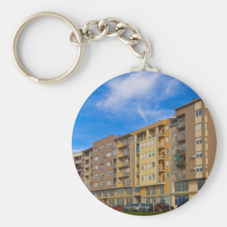 apartment building basic round button key ring