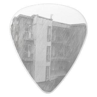 Apartment Building White Delrin Guitar Pick