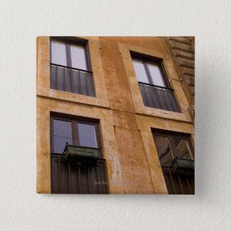 Apartment windows, Rome, Italy 15 Cm Square Badge