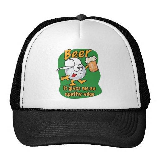 Apathy edge beer drinking golf ball trucker hats