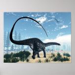 Apatosaurus dinosaur in the desert - 3D render Poster