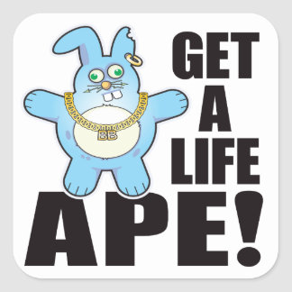 Ape Bad Bun Life Square Sticker
