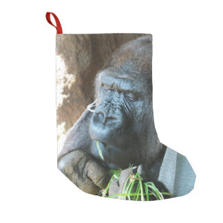 Ape hood ~ Japanese Gorilla Eating Small Christmas Stocking