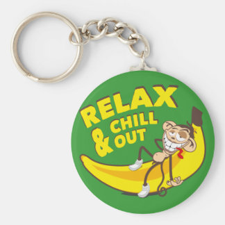Ape on banana - Relax And chill out! Basic Round Button Key Ring