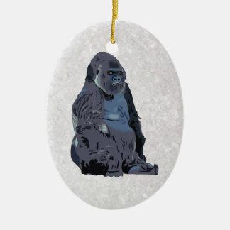 ape or gorilla ceramic oval decoration