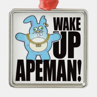 Apeman Bad Bun Wake Silver-Colored Square Decoration