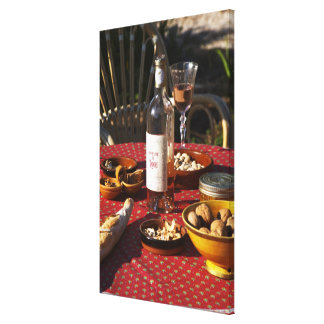 Aperitif and appetizers prepared: bread, olives, canvas print