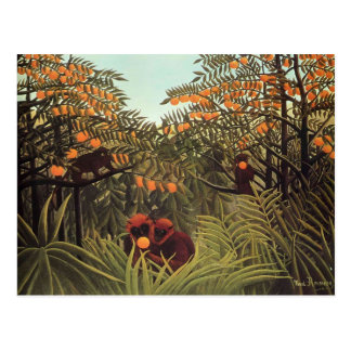 Apes in the Orange Grove by Henri Rousseau Postcard