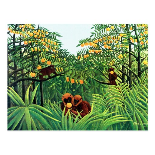 """Apes in the Orange Grove"" by Henri Rousseau Post Cards"