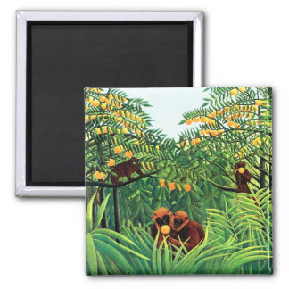 """Apes in the Orange Grove"" by Henri Rousseau Square Magnet"