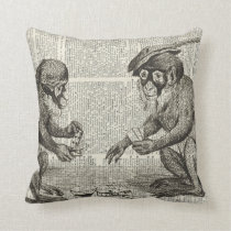 Apes playing cards cushion