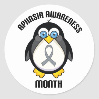 Aphasia Awareness Penguin Ribbon Stickers