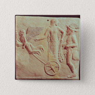 Aphrodite and Hermes riding on a chariot 15 Cm Square Badge