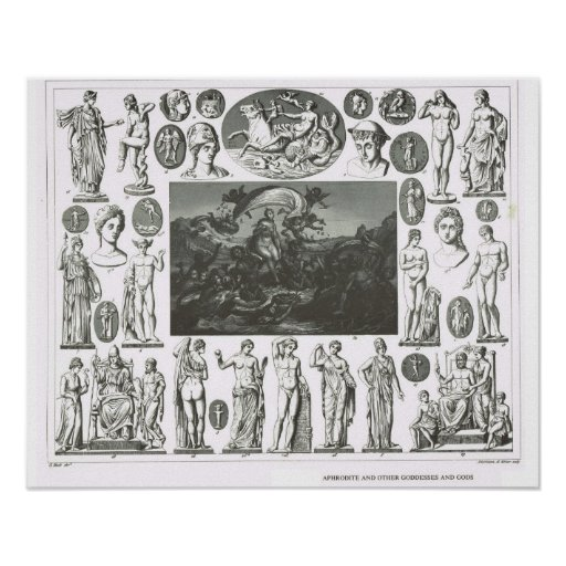 Aphrodite and other gods and goddesses print