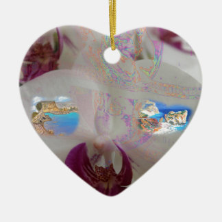 Aphrodite's Birth Place in a Flower Ceramic Heart Decoration