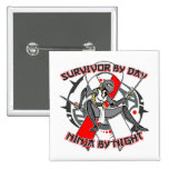 Aplastic Anaemia Survivor By Day Ninja By Night Pins