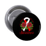 Aplastic Anaemia Survivor Rose Grunge Tattoo Badges