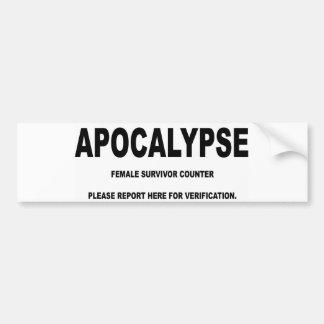 Apocalypse Female Survivor Bumper Sticker. Bumper Sticker